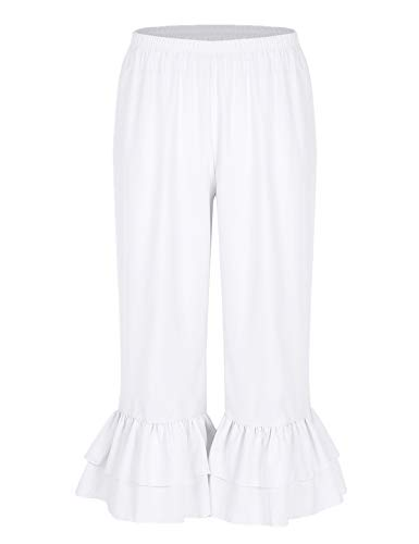 iiniim Women Victorian Pantaloons Ruffle Bloomers Steampunk Pirate Cosplay Costume Cropped Pants White X-Large