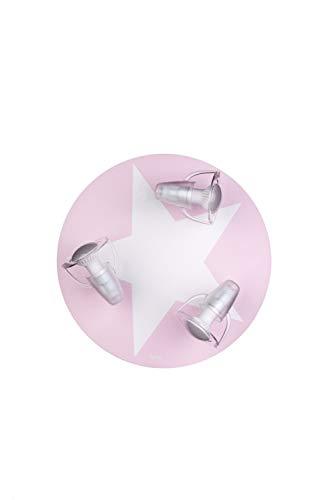 Waldi Leuchten Plafonnier 3 Ampoules. 65927.0 Blanc avec étoile Rose