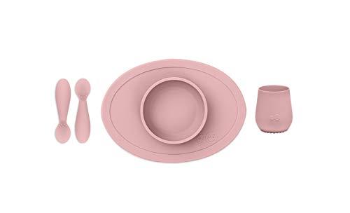 EZPZ Set de Primeros Alimentos - Tiny Bowl, Tiny Cup, Tiny Spoons 4 Meses + Bol, Vaso y Cucharas 100% de Silicona para Bebés, Rosa Pálido