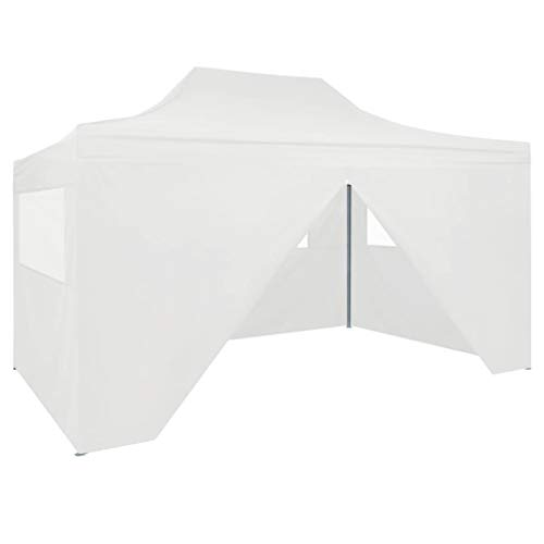Professional Folding Party Tent with 4 Side Walls Kiosko Garden Gazebo Waterproof UV Protection Gazebo for Celebration in the Garden Patio 3 × 4 m Steel White
