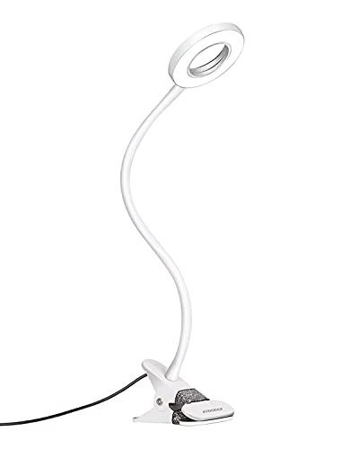 Eyocean LED Leselampe, Schwanenhals Bett Lampe, Augenpflege Schreibtischlampe, 3 Modi & 10 Dimmstufen, Klemmleuchte für Büro Heimgebrauch, CE Adapter Enthalten, 7W, Weiß