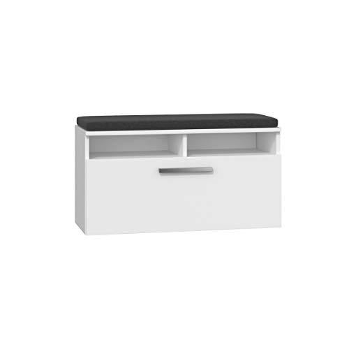 Riva - Armario zapatero/zapatero/estantería para zapatos / con cojín / banco de asiento 35 x 85 x 46 - Color Blanco - Perfecto para cualquier salón