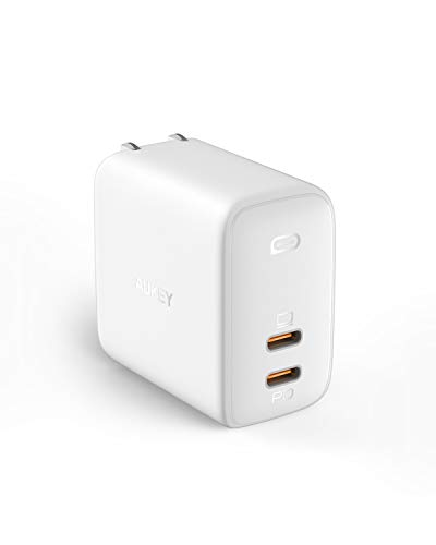 AUKEY Omnia USB充電器 オム二アデュオ アダプタ GaN充電器 USB-C 2ポート 急速充電器 65W GaN (窒化ガリウム) 採用 ノートPC充電可能 折畳式 PD3.0搭載 iPhone 11 / 11 Pro / 11 Pro Max/XR / 8 、 Galaxy S10 / S10+、MacBook Pro、その他USB-C機器対応 PA-B4 ホワイト