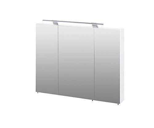 Schildmeyer Siena Spiegelschrank, Korpus: melaminharzbeschichtete Spanplatte/Griffe und Beschläge aus Metall, Weiß Glanz, 16 x 80 x 75 cm