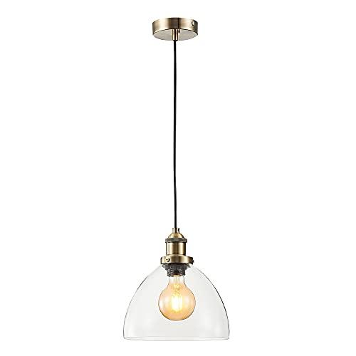 Lámpara de techo con tulipa campana de cristal y metal oro envejecido de Ø 23x22 cm - LOLAhome