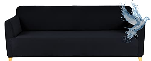 Sofabezug Wasserdicht 3 Sitzer Couch Uberzug Sofahusse U Form, Stretch Sofa Cover mit Anti-Rutsch-Schaumstoffe, Schwarz
