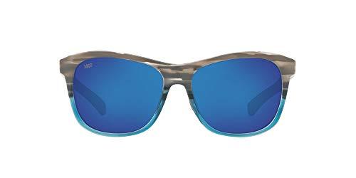 Costa Del Mar Men s Vela Rectangular Sunglasses, Ocearch Shiny Coastal Fade Grey Blue Mirrored Polarized, 56 mm