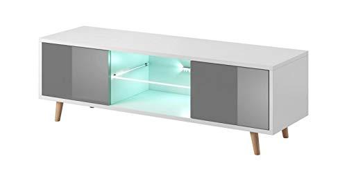 Vivaldi Sweden– Mueble TV escandinavo, Color Blanco Mate con Gris Brillante - iluminación LED Azul