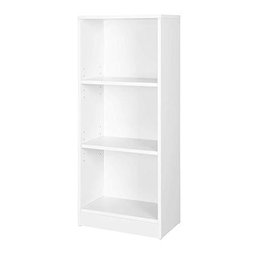 VASAGLE Libros con 3 Compartimientos, Librería Regulables, Estante, Estantería de Archivo para Sala de Estar, 40 x 24 x 93 cm (Largo x Ancho x Alto), Blanco