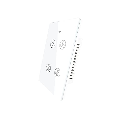 MOES WiFi Smart Ceiling Fan Light Wall Switch, Smart Life/Tuya APP Remote Timer and Counterdown, Compatible with Alexa and Google Home, No Hub Required, Neutral Wire Required,White