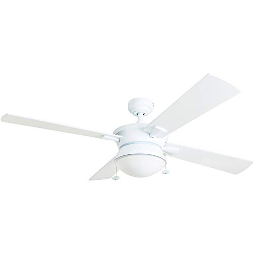 "Prominence Home 50344-01 Auletta Outdoor Ceiling Fan, 52"" ETL Damp Rated 4 Blades, LED Frosted Contemporary Light Fixture, Matte White"