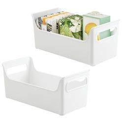 mDesign 2er-Set geräumiger Kosmetik Organizer mit Griffen – tragbare Aufbewahrungsbox für Lotion, Duschgel, Pflegeprodukte usw. – dezentes Badzubehör aus Kunststoff – weiß