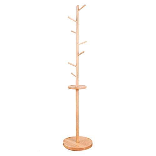 Zcyg Perchero de pie con 7 ganchos para ropa, sombrero de árbol, para colgar en el pasillo, dormitorio, sala de estar (color de madera)
