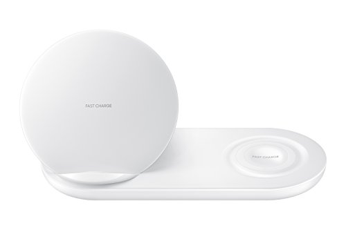 Samsung Wireless Charger DUO, Fast Charge Stand & Pad, Universally Compatible with Qi Enabled Phones and Select Samsung Watches (US Version), White - EP-N6100TWEGUS