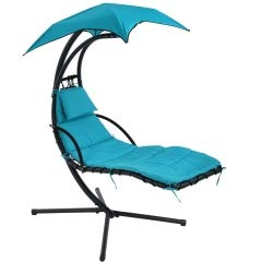 C&L Hanging Chaise Lounger Chair Swing Lounge Chair with Stand Umbrella, Floating Chaise Patio Swing Chair Arc Stand Air Porch Swing Hammock Chair for Outdoor & Indoor (Blue)
