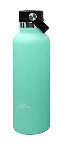 NERTHUS Botella Termo Tapon Asa Doble Pared para frios y Calientes Diseño Turquesa de Acero Inoxidable 750 ml Libre de BPA, 18/8