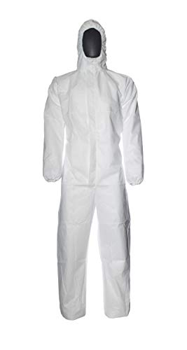DuPont ProShield 20 | Schutzanzug mit Kapuze, Kategorie III, Typ 5 und 6 | Weiß | Größe M, 50 Stück