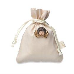 THUN Bomboniere Spilla Testa d'Angelo + sacchettino portaconfetti, Ceramica, Variopinto