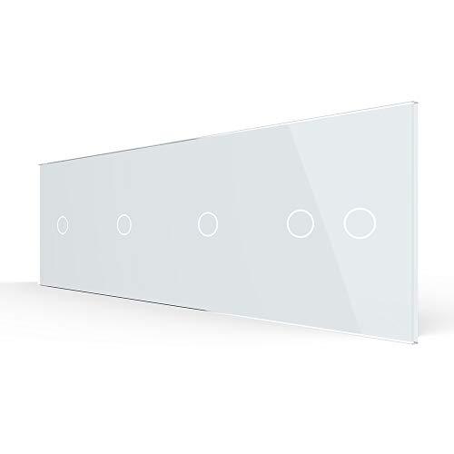 LIVOLO Nur Glas Blende Touch Lichtschalter moderner Glasrahmen für Schalter Glasblende 4Fach VL-C7-C1/C1/C1/C2-11-A Weiß 4 Fach