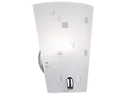 Exclusieve wandlamp met gesatineerde lampenkap van glas in wit/grijs, hoogte 23 cm