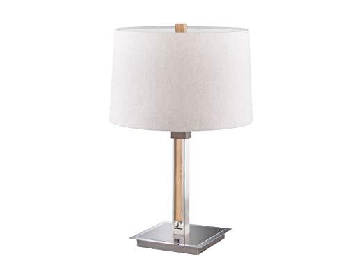 Honsel Höhenverstellbare LED Tischlampe mit Stoffschirm Leinen & Holz Eicheoptik