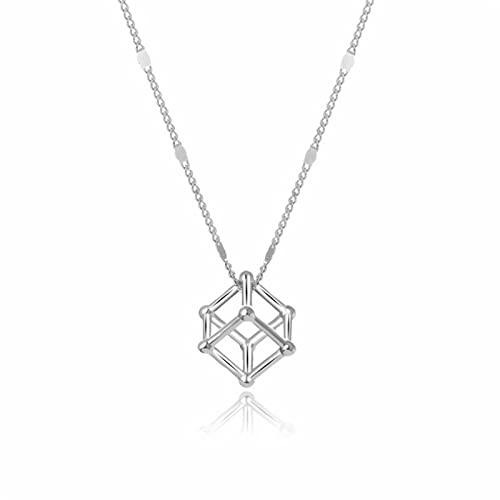 HCMA Collar con Colgante de Cubo de Plata 925 para Mujer, Gargantilla de Cadena de Disco Brillante de Temperamento Simple, joyería El Regalo Ideal para Mujeres