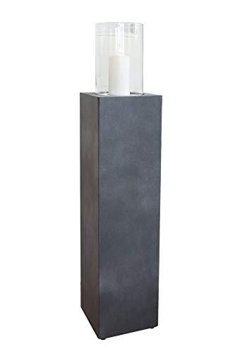 Vivanno Windlichtsäule Boden-Windlicht Kerzenhalter Deko-Laterne Fiberzement Lumira 75 cm hoch Grau