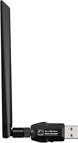 Adaptador WiFi USB de Banda Dual 1200Mbps, USB 3.0 Tarjeta Red WiFi Dongle con Antena de 5dBi Receptor WiFi para PC / Escritorio /...