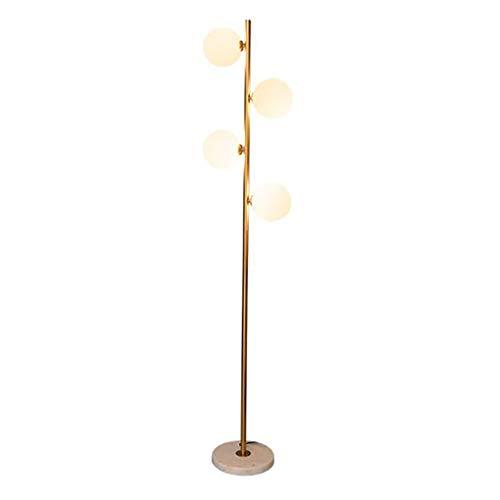 Lámpara de pie creativa Arte del hierro lámpara de pie, lámpara de pie moderna de oro con esfera de cristal Pantalla - 4 luces, for la sala de estar Dormitorios Oficinas Luz de piso (Color : Gold)
