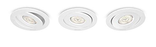 Philips 591833116 Asterope Luminaire d'Intérieur Spot Encastrable LED Métal Blanc 4,5 W