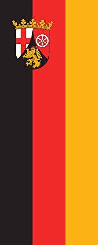 flaggenmeer® Flagge Rheinland-Pfalz 160 g/m² ca. 400 x 150 cm mit Hohlsaum für Ausleger