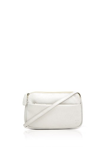Lakeland Rubi II - Bolsa de piel curvada pequeña y suave para mujer, color Blanco, talla Talla única