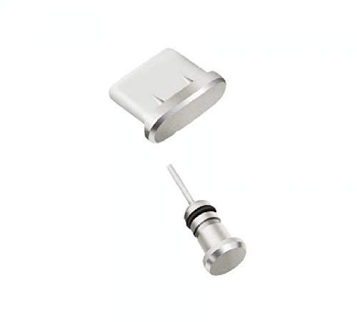 Aluminium Staubschutz Stöpsel Kappen Set für Sony Xperia XA2 Plus Handy für USB und Kopfhöreranschluss in Silber