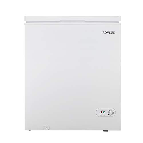 ROVSUN 3.5/5.0 Cubic Feet Chest Freezer, Compact Freezer with Storage Basket, Adjustable Thermostat, Ideal for Home Kitchen Office, White (5.0 Cubic Feet)
