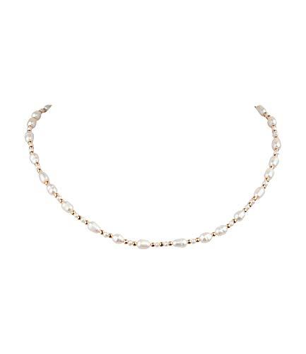 SIX Perlenkette aus Süßwasserperlen mit goldenen Details (526-967)