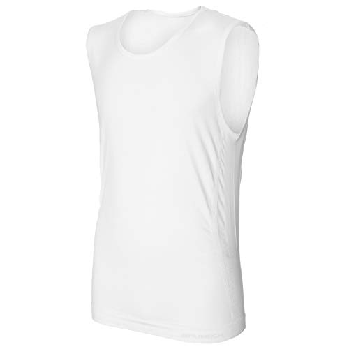 BRUBECK Herren weißes Tanktop   Shirt ärmellos   Top atmungsaktiv nahtlos   Tank Top Scoop Neck Seamless   T-Shirt ohne Arm   Achseltop nahtlos   55% Baumwolle   Gr. XL, weiß   SL00068A