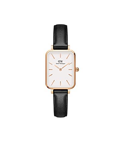 Daniel Wellington Reloj Quadro Sheffield, correa de cuero negro italiano, 20x26mm