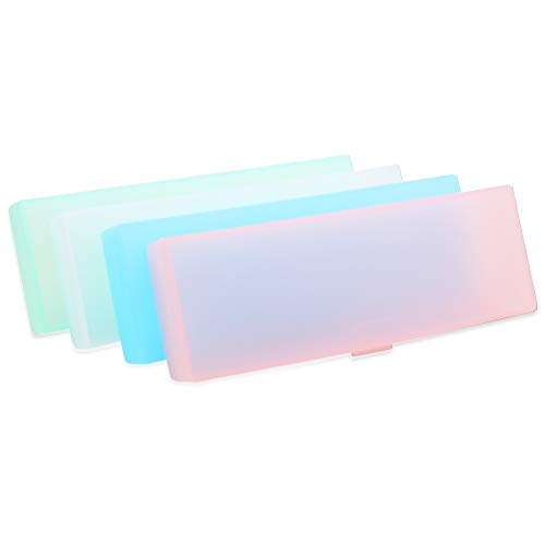 4 Pieces Plastic Clear Pencil Cases Pencil Box Plastic Stationery Storage Case with Lid Snap Closure,4 Colors