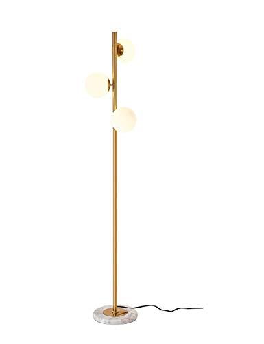 Dellemade - Lampada da terra moderna a LED, 3 luci, in vetro, ottone