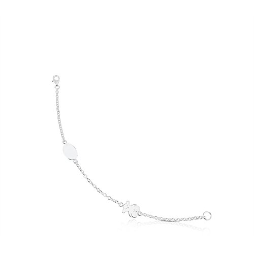 TOUS Pulsera cadena Mujer Bear en plata de primera ley, Largo 17.5 centímetros