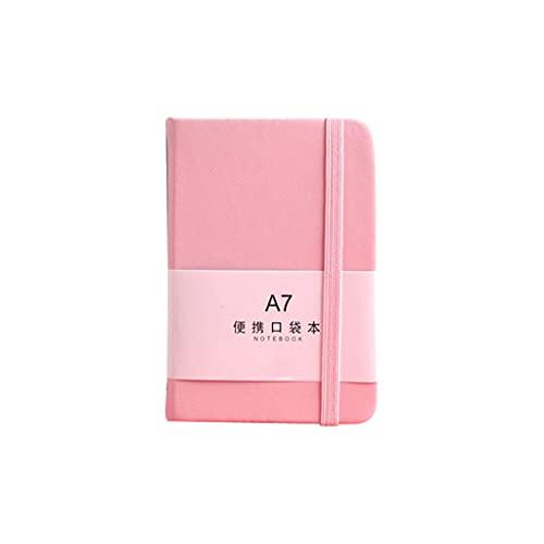 TINGLI Mini bloc de notas, tamaño A7, A6, Macaron, de piel sintética, con espiral, mini bolsillo, portátil, papelería, diario de viaje, color rosa