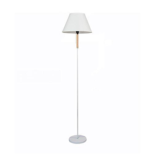 Moderne staande lamp wit smeedijzeren houten vloerlamp pull touw schakelaar linnen lampenkap vloerlamp voor slaapkamer woonkamer studie loft, H169cm E27