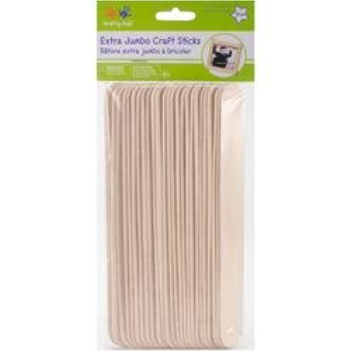 Bulk Buy: MultiCraft Imports (6-Pack) Extra Jumbo Craft Sticks Natural 7.875in. x .8in. 25/Pkg CW507