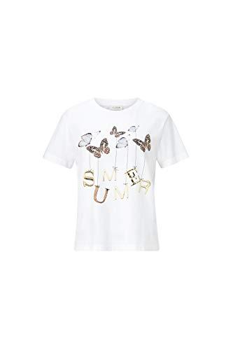 rich&royal Damen with Butterfly Print T-Shirt, Weiß (White 100), Large (Herstellergröße: L)