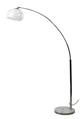 MaxxHome - Lámpara de pie de mármol con arco curvado para salón (altura regulable, 179 cm), color blanco