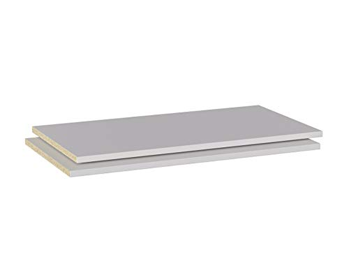 Iconico Home MIK, Confezione 2 ripiani aggiuntivi per armadio, Guardaroba, Camera da letto, Soggiorno, 76,6x51,5xh1,8 cm, Bianco