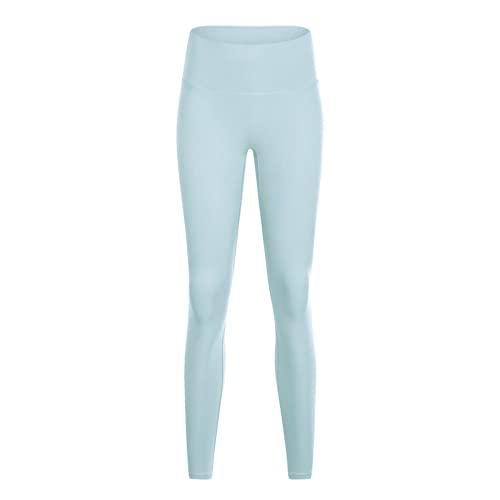 Soft Nude Fitness Yoga Leggings Pantalones Deportivos de Cintura Alta Anti-Sentadillas para Mujeres Pantalones de Yoga elásticos y de Secado rápido IS