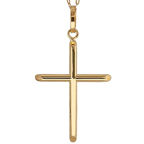 日本製 クロス 十字架 ペンダント エッジ k18 シンプル ゴールド 18k メンズ レディース 18金 チャーム アズキチェーン 長あずきチェーン トップ 小豆チェーン ネックレス