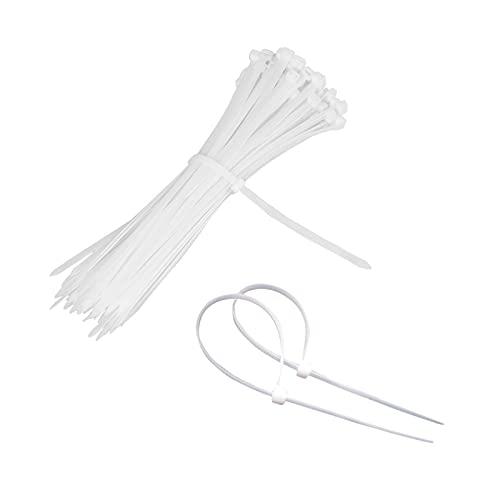 LULJY - Juego de bridas de 200 unidades, 2,5 x 100 mm, color blanco, para jardín, ordenador, coche, bicicleta, cortacésped, valla, ordenador, TV, satélite y camping
