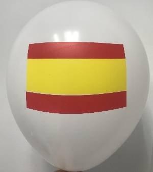 Globos Serigrafiado Bandera de España DE 30 cm Aprox Color Blanco Solido (12 ud)